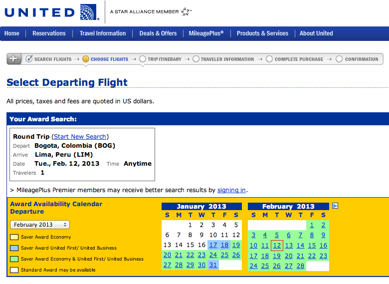 Wide open award availability on United flight from Bogota to Lima