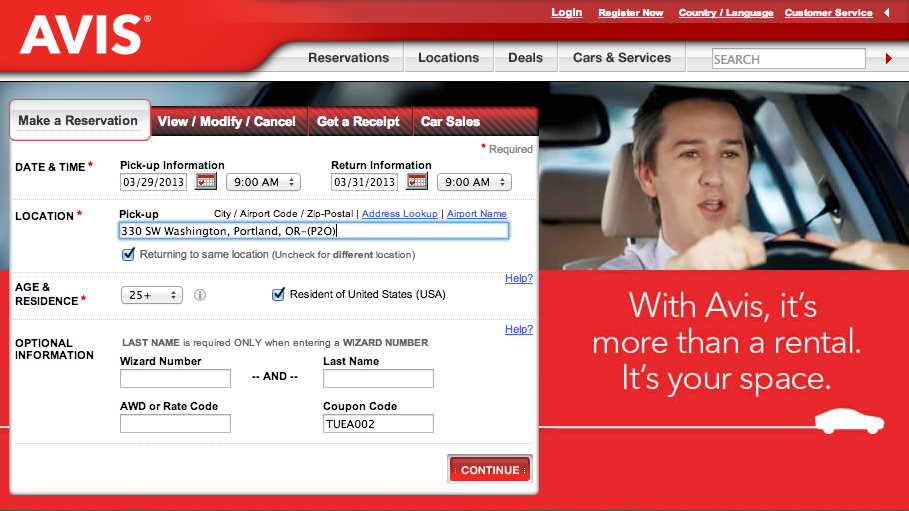 Avis car rental deals coupon and discount promotions