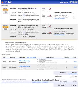 Southwest Wanna Getaway Fare from Burbank to Washington DC