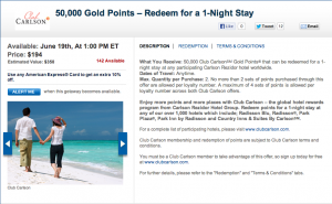 Get 50,000 Club Carlson Gold Points and redeem them for $1000 value of hotel stays