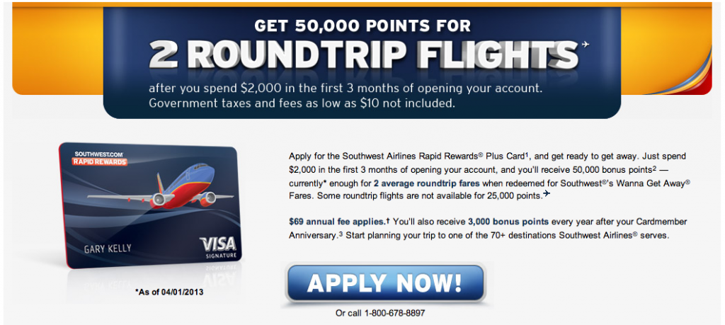 Earn 50,000 Rapid Rewards points after spending $2,000 in 3 months
