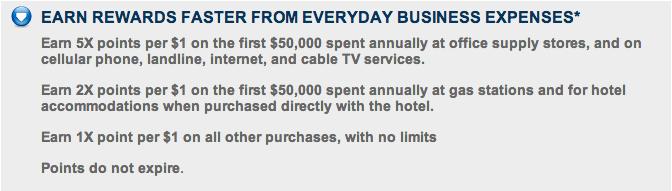 Earn 5x points on bonus spending business categories