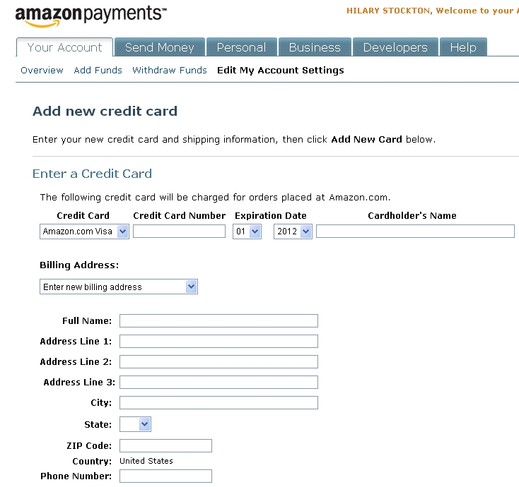 amazon credit card make payment