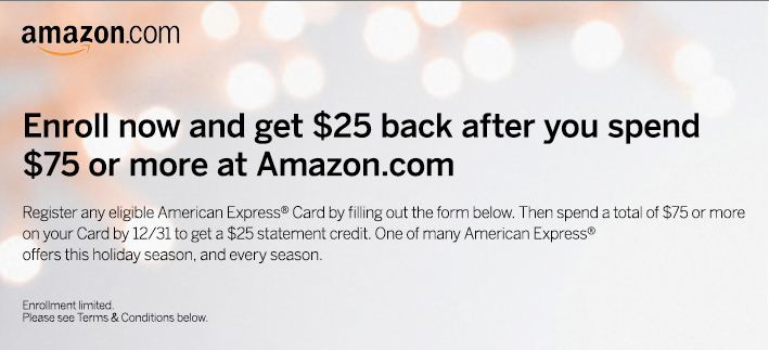 Get $25 off a $75 Amazon.com purchase
