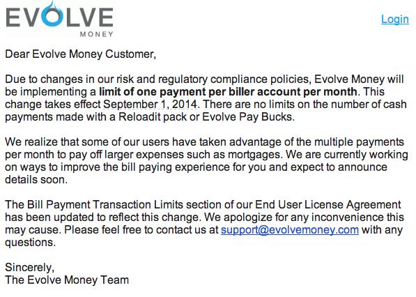 Evolve Money Now Limits One Payment Per Biller Per Month