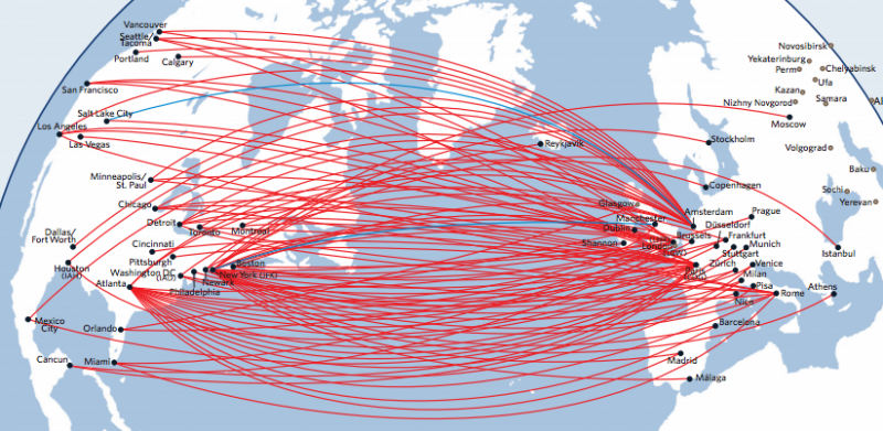 Delta's North America to Europe route map.