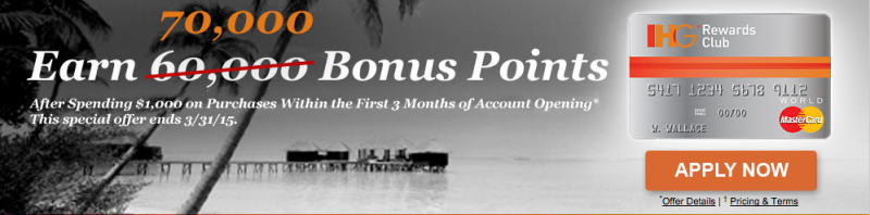 70,000 Bonus Points Free Night Every Year with IHG Rewards Club MasterCard