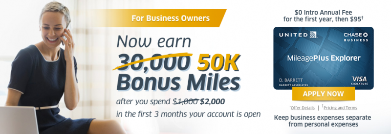 Increased 50,000 Mile Sign-up Bonus on Chase United MileagePlus Explorer Business Card