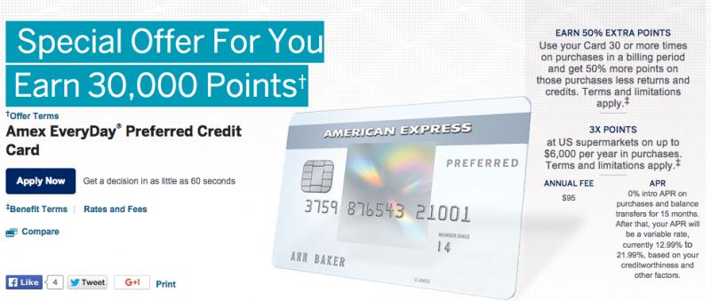 EveryDay Preferred Offering 30k Points & Blue Cash Preferred Offering $250-1