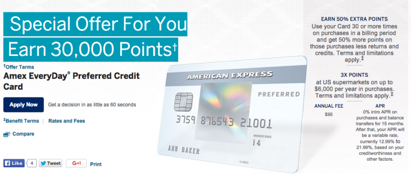 EveryDay Preferred Offering 30k Points & Blue Cash Preferred Offering $250-1