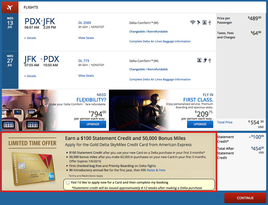 American Express Gold Delta SkyMiles Credit Card Increased 50k and 100 Offer-02