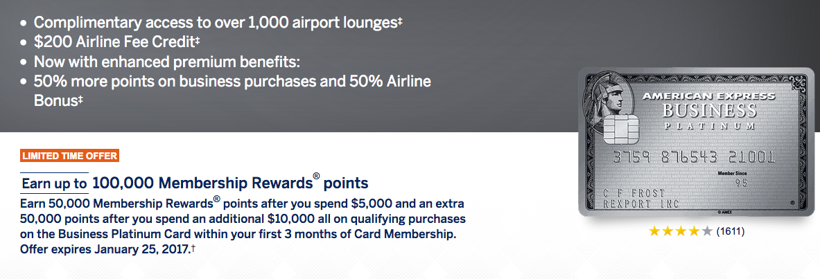 Amex Business Platinum Card 100000 Point Sign Up Bonus