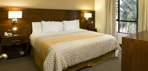 The spacious Embassy Suites king suite