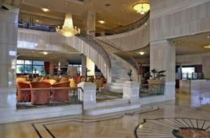 The stunning lobby at the Radisson Royal Hotel Bogotá