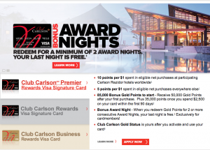 The Club Carlson 85,000 signup offer can be worth four free nights at a top tier hotel