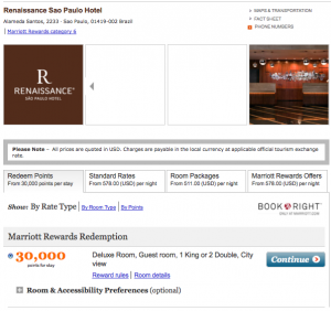 Marriott Rewards rates in Sao Paulo