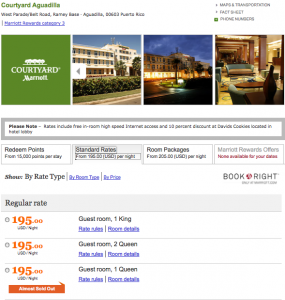 Marriott nightly rate in Puerto Rico