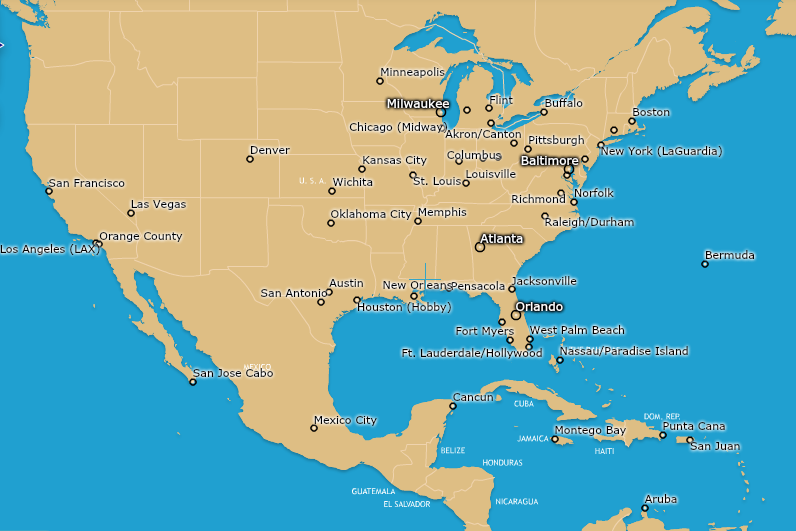 Southwest Flight Map