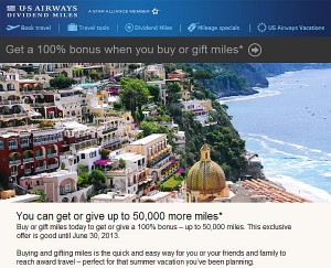 US Airways Targeted Bonus Offer