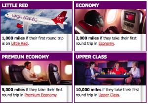 Virgin Atlantic Bonus Offer Based on Seat Class