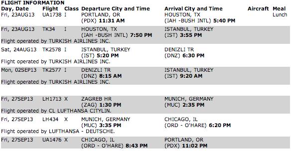 My trip itinerary