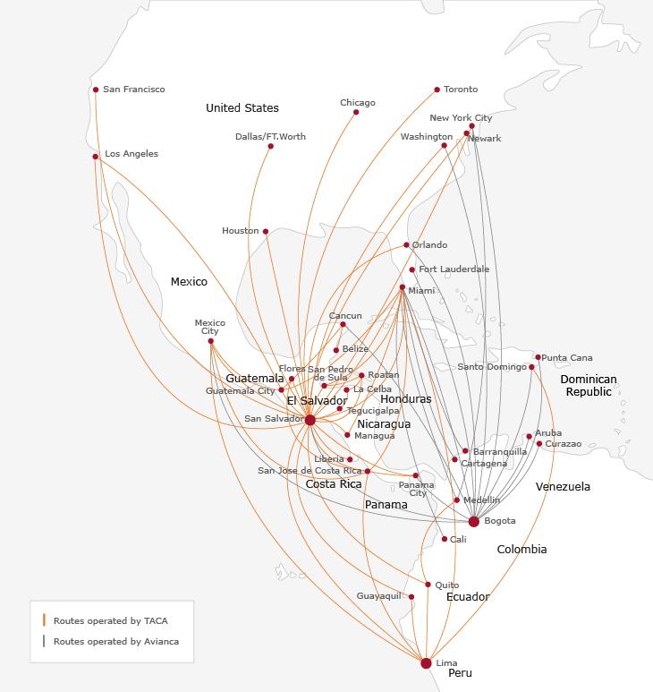 TACA Route Map