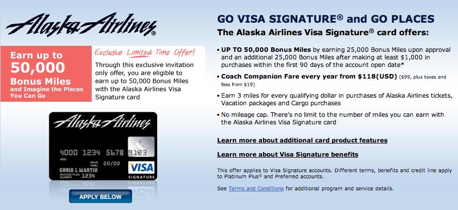 Alaska Airlines Visa 50,000 miles signup offer