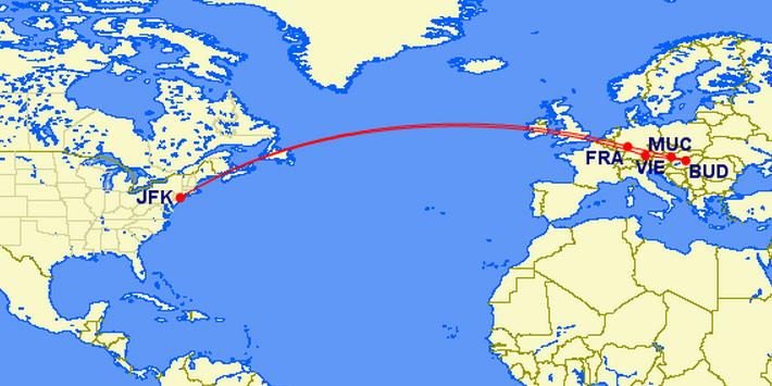 JFK-MUC-BUD-VIE-FRA(connection)-JFK