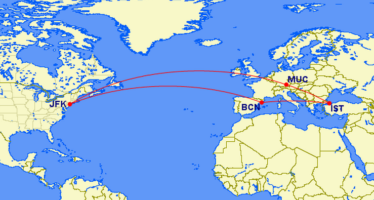 Only 50k for a rountrip economy flight to 3 European cities
