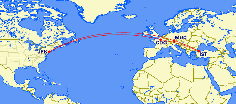 JFK -CDG (stopover)-IST (destination), IST-MUC (stopover)-JFK