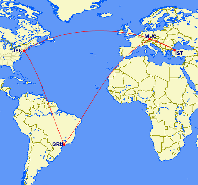 JFK - GRU (stopover) - MUC (connection) - IST (stopover) - JFK
