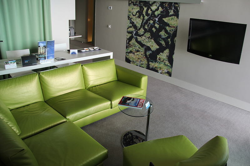 Lime green living room area