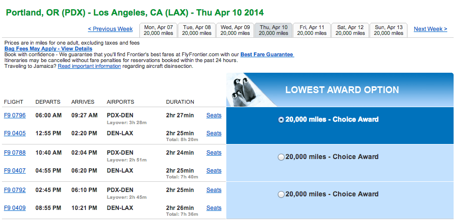 The lowest award price shows 20,000 miles. Not true!