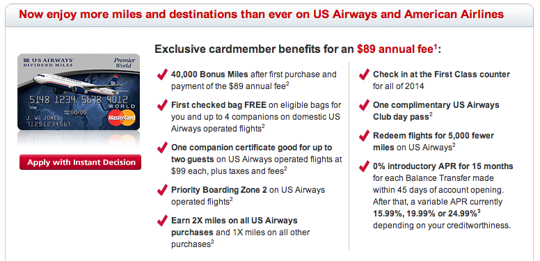 Get 40,000 US Airways miles after the first purchase!