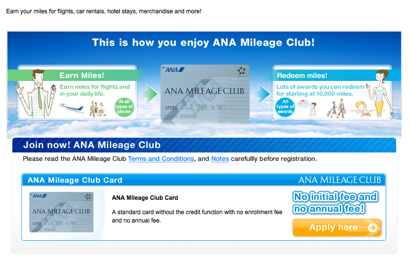 Sign up for ANA Mileage Club