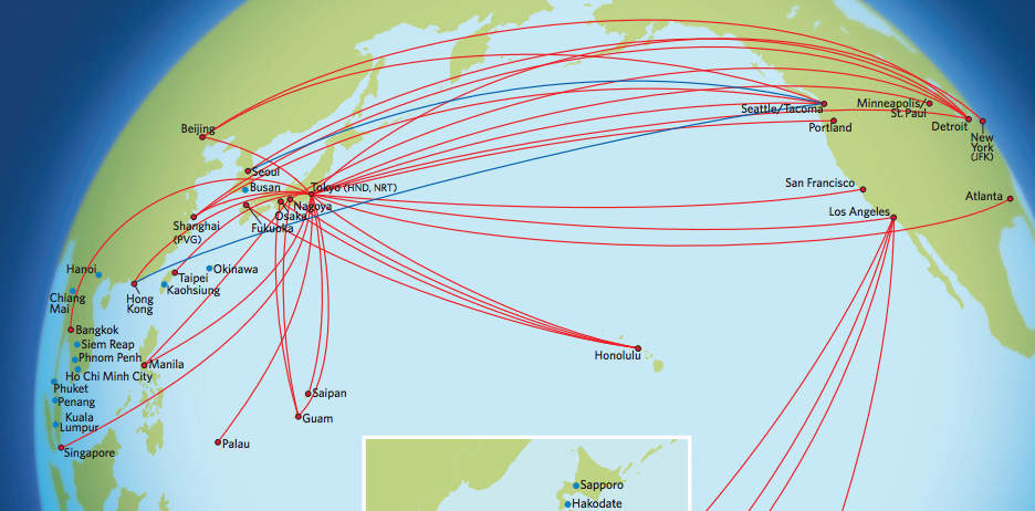 Delta's route map to Asia