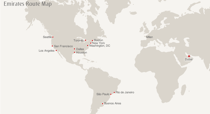 Emirates route map from the US