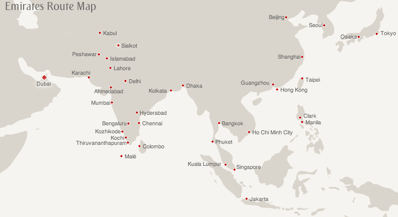 Emirates' route map to Asia
