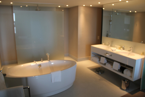 Bathroom in our suite at the Radisson Blu Split