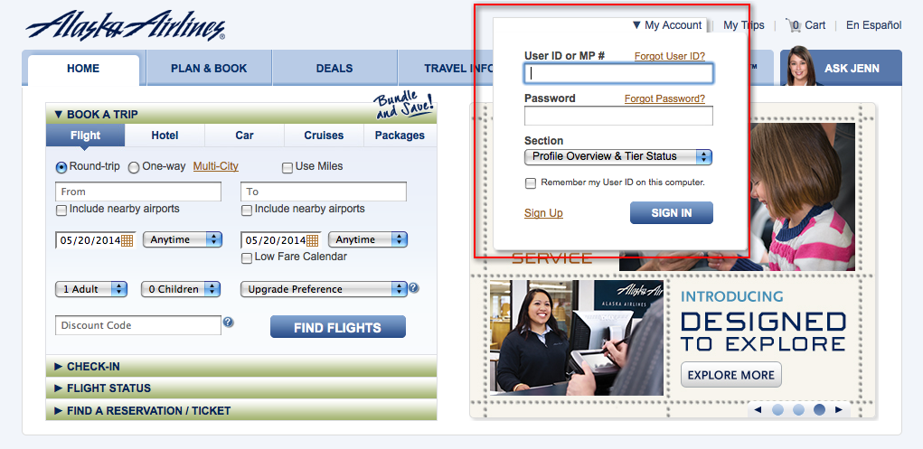 Sign in to Alaska Airlines