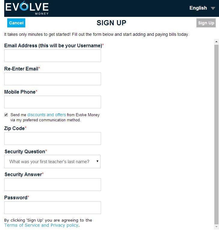 EvolveMoney_signup