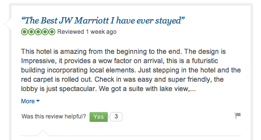 Hotels love to see positive reviews of their hotel!