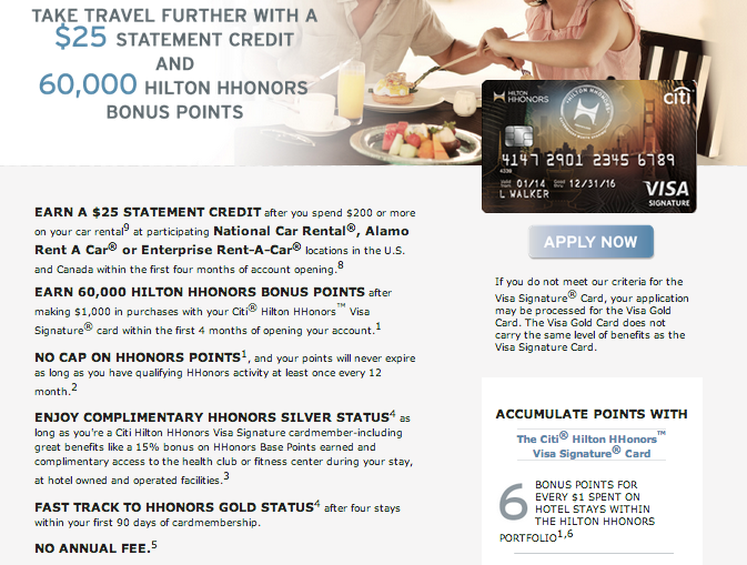 Citi Hilton HHonors Visa Signature 60,000Point Offer is Back (+$25 Statement Credit)