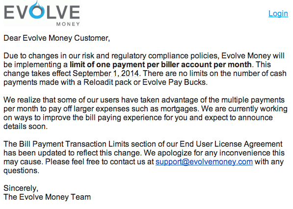 Evolve Money Now Limits One Payment Per Biller Per Month
