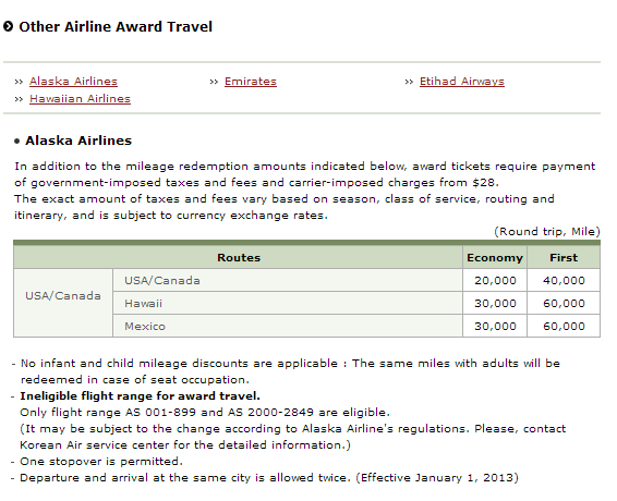 Korean miles redemption rates on Alaska Airlines