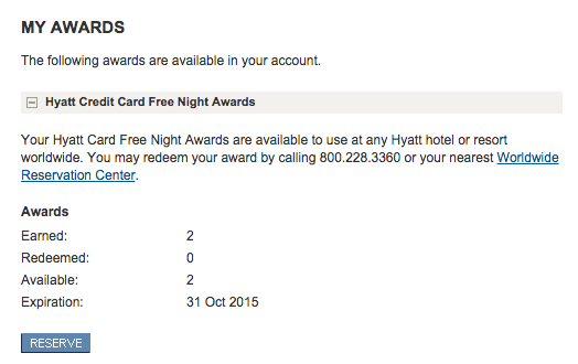 How Fast do the Hyatt Credit Card 2 Free Nights Post_02