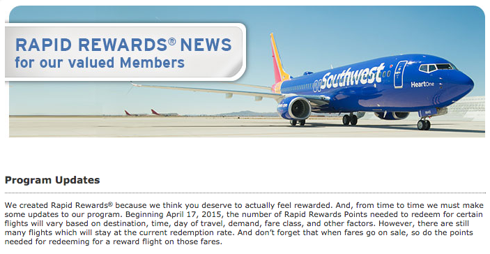 Southwest Devaluation on Redemptions Coming April 17, 2015