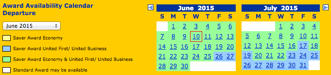 United's award calendar showing availability