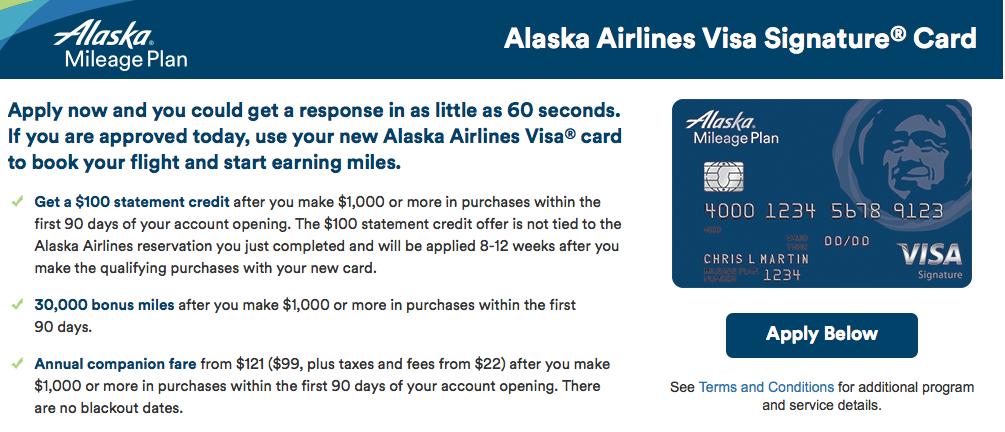 30,000 Miles + $100 Welcome Bonus on the Alaska Airlines Visa-02