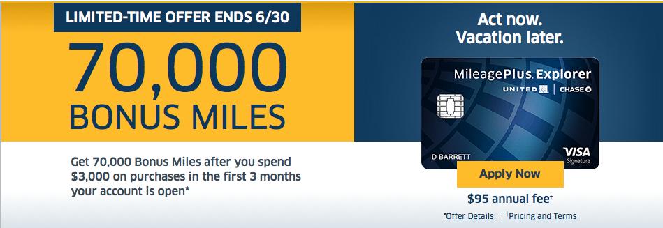 how to get 70000 united explorer card bonus